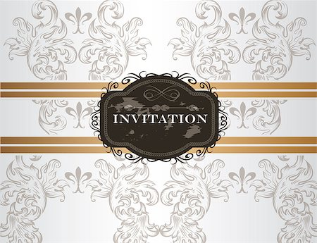 elegant wedding floral graphic - Vector hand drawn  wedding invitation design in classic floral style Stock Photo - Budget Royalty-Free & Subscription, Code: 400-07087044