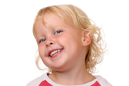 shy baby - Portrait of a happy young girl on white background Stock Photo - Budget Royalty-Free & Subscription, Code: 400-07088432