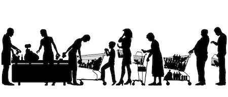 Editable vector silhouettes of people in a supermarket checkout queue with all elements as separate objects Stock Photo - Budget Royalty-Free & Subscription, Code: 400-07095204