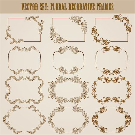 Vector set of decorative ornate frame with floral elements for invitations. Page decoration. Stock Photo - Budget Royalty-Free & Subscription, Code: 400-07095788
