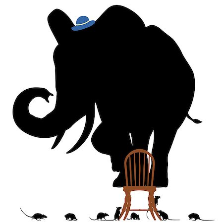 Editable vector silhouettes of a frightened elephant standing on a chair surrounded by rats Stock Photo - Budget Royalty-Free & Subscription, Code: 400-07096624