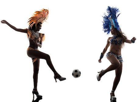 two women samba dancer  playing soccer  silhouette  on white background Stock Photo - Budget Royalty-Free & Subscription, Code: 400-07097640