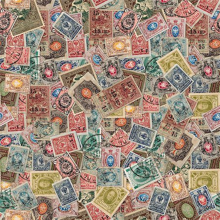 Seamless Tileable Texture of  Vintage Russia Postage Stamps. Varicolored Collage of Stamps. Stock Photo - Budget Royalty-Free & Subscription, Code: 400-07098087