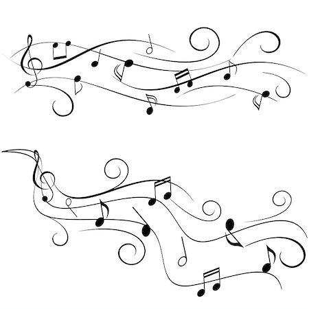 sheet music background - Various music notes on swirly staff Stock Photo - Budget Royalty-Free & Subscription, Code: 400-07098414