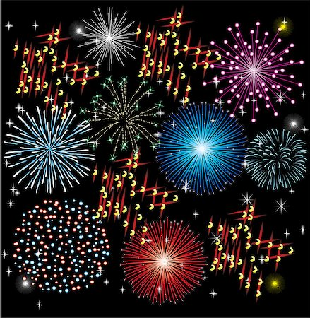 fireworks illustrations - vector firework background Stock Photo - Budget Royalty-Free & Subscription, Code: 400-07098433