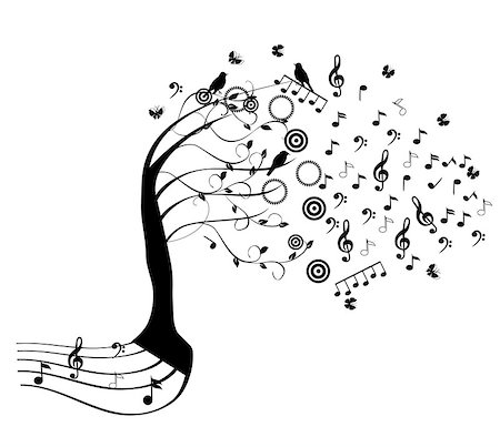 vector tree with music notes Stock Photo - Budget Royalty-Free & Subscription, Code: 400-07098447