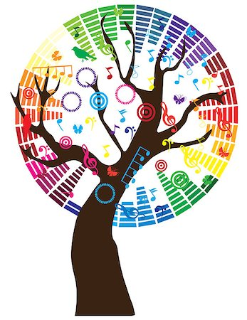 vector tree with music notes Stock Photo - Budget Royalty-Free & Subscription, Code: 400-07098450