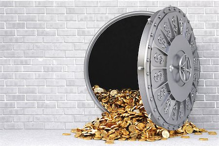 open a bank vault with a bunch of gold coins. Stock Photo - Budget Royalty-Free & Subscription, Code: 400-07091345