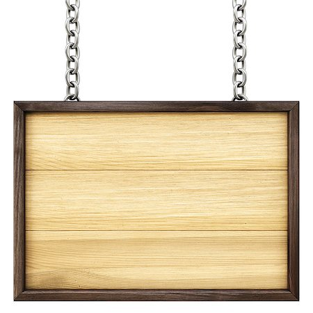 wooden signboard on the chains. Isolated on white. Stock Photo - Budget Royalty-Free & Subscription, Code: 400-07091354