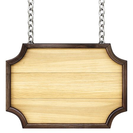 wooden signboard on the chains. Isolated on white. Stock Photo - Budget Royalty-Free & Subscription, Code: 400-07091355