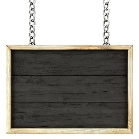 wooden signboard on the chains. Isolated on white. Stock Photo - Budget Royalty-Free & Subscription, Code: 400-07091353