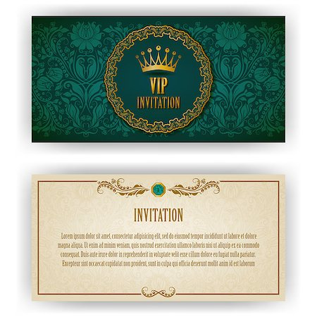 Elegant template luxury invitation, card with lace ornament, place for text. Floral elements, ornate background. Vector illustration EPS 10. Stock Photo - Budget Royalty-Free & Subscription, Code: 400-07091873
