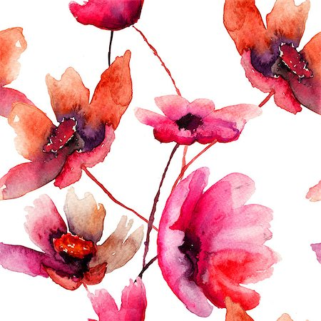 seamless floral - Watercolor illustration with beautiful flowers, seamless wallpaper Stock Photo - Budget Royalty-Free & Subscription, Code: 400-07091967