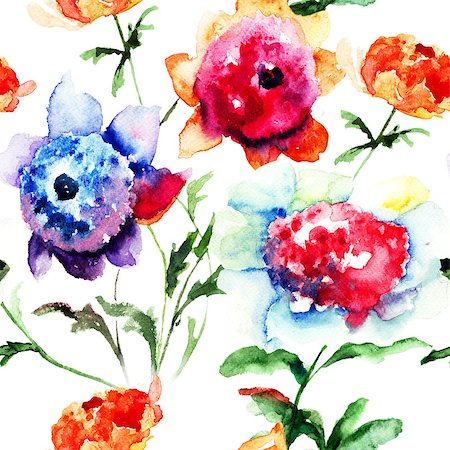 floral patterns peony - Seamless pattern with Beautiful Peony flowers, Watercolor painting Stock Photo - Budget Royalty-Free & Subscription, Code: 400-07091962