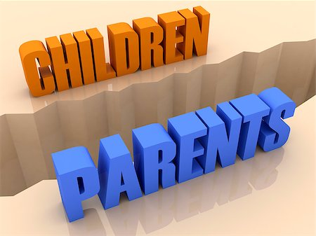 Two words CHILDREN and PARENTS split on sides, separation crack. Concept 3D illustration. Stock Photo - Budget Royalty-Free & Subscription, Code: 400-07092244