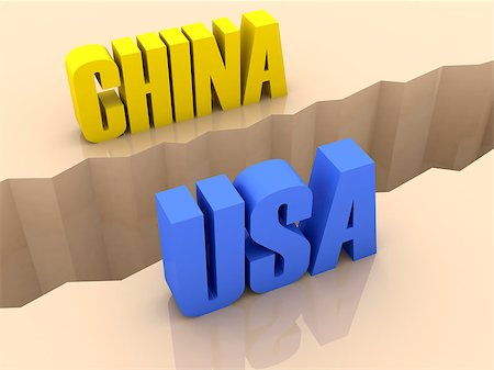 Two countries CHINA and USA split on sides, separation crack. Concept 3D illustration. Stock Photo - Budget Royalty-Free & Subscription, Code: 400-07092245
