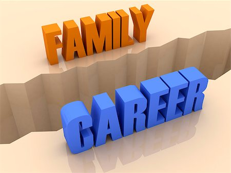 Two words FAMILY and CAREER split on sides, separation crack. Concept 3D illustration. Stock Photo - Budget Royalty-Free & Subscription, Code: 400-07092246