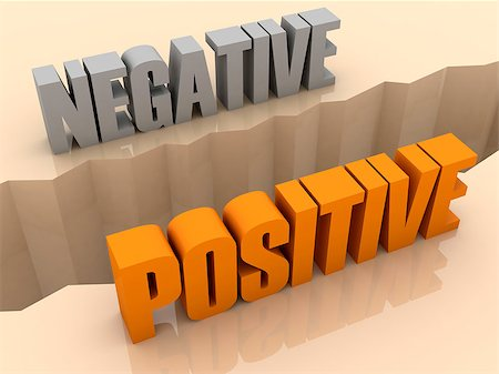 Two words NEGATIVE and POSITIVE split on sides, separation crack. Concept 3D illustration. Stock Photo - Budget Royalty-Free & Subscription, Code: 400-07092249