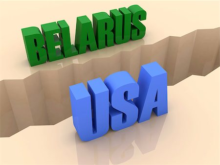 Two countries BELARUS and USA split on sides, separation crack. Concept 3D illustration. Stock Photo - Budget Royalty-Free & Subscription, Code: 400-07092240