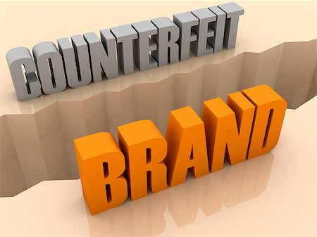 Two words COUNTERFEIT and BRAND split on sides, separation crack. Concept 3D illustration. Stock Photo - Budget Royalty-Free & Subscription, Code: 400-07092241