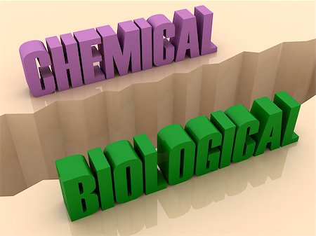 Two words CHEMICAL and BIOLOGICAL split on sides, separation crack. Concept 3D illustration. Stock Photo - Budget Royalty-Free & Subscription, Code: 400-07092243