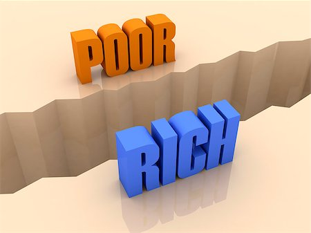 Two words POOR and RICH split on sides, separation crack. Concept 3D illustration. Stock Photo - Budget Royalty-Free & Subscription, Code: 400-07092258