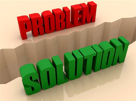 Two words PROBLEM and SOLUTION split on sides, separation crack. Concept 3D illustration. Stock Photo - Budget Royalty-Free & Subscription, Code: 400-07092259