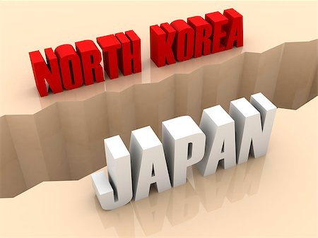 Two countries NORTH KOREA and JAPAN split on sides, separation crack. Concept 3D illustration. Stock Photo - Budget Royalty-Free & Subscription, Code: 400-07092250