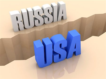 Two countries RUSSIA and USA split on sides, separation crack. Concept 3D illustration. Stock Photo - Budget Royalty-Free & Subscription, Code: 400-07092261