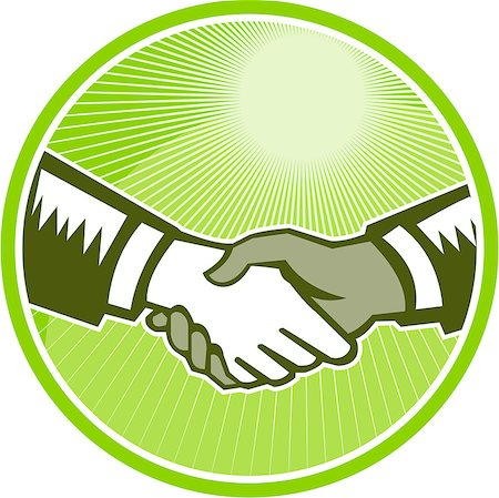 Illustration of two hands in handshake one white and the other black set inside circle done in retro woodcut style. Stock Photo - Budget Royalty-Free & Subscription, Code: 400-07092471