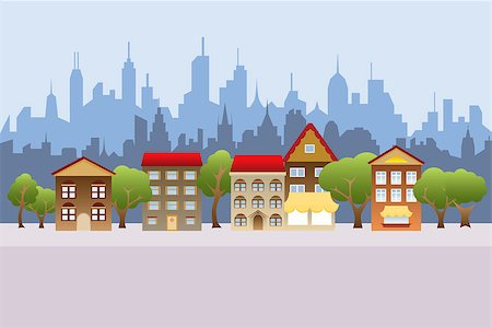 soleilc (artist) - Suburban houses and city in the background Stock Photo - Budget Royalty-Free & Subscription, Code: 400-07093423