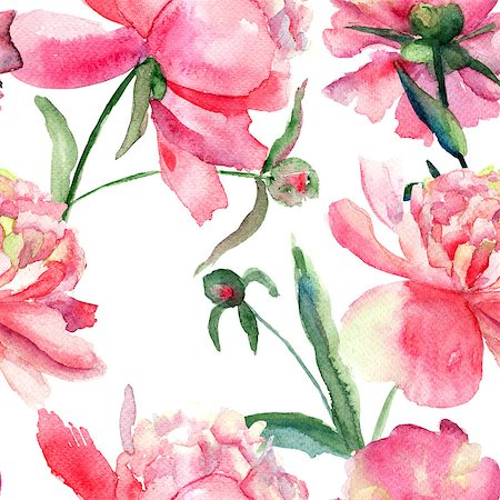peony illustrations - Beautiful Peonies flowers, Watercolor painting; seamless pattern Stock Photo - Budget Royalty-Free & Subscription, Code: 400-07104287