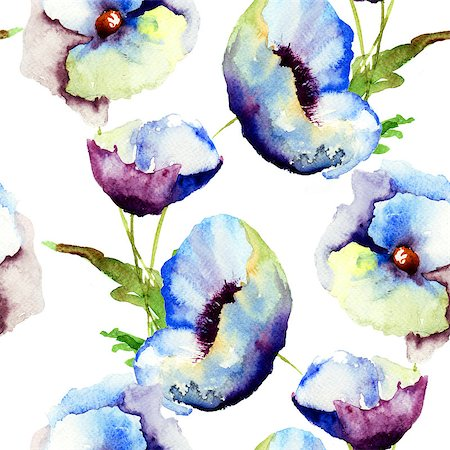 seamless floral - Seamless pattern with Beautiful Blue flowers, Watercolor painting Stock Photo - Budget Royalty-Free & Subscription, Code: 400-07104281