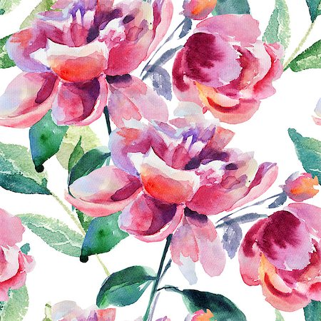 peony illustrations - Seamless wallpaper with Beautiful Peony flower, Watercolor painting Stock Photo - Budget Royalty-Free & Subscription, Code: 400-07104306