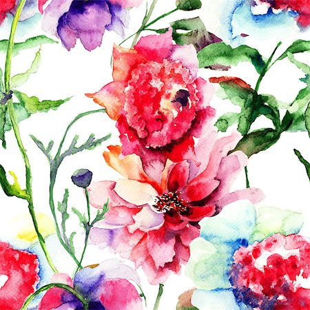 seamless floral - Seamless pattern with Beautiful Peony flower, Watercolor painting Stock Photo - Budget Royalty-Free & Subscription, Code: 400-07104307
