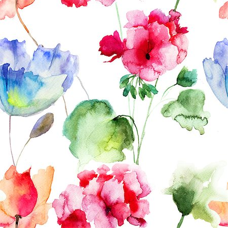 seamless floral - Watercolor seamless wallpaper with summer flowers Stock Photo - Budget Royalty-Free & Subscription, Code: 400-07104302