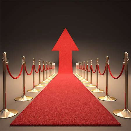 Red carpet arrow-shaped up. Your text next to the arrow. Stock Photo - Budget Royalty-Free & Subscription, Code: 400-07104647