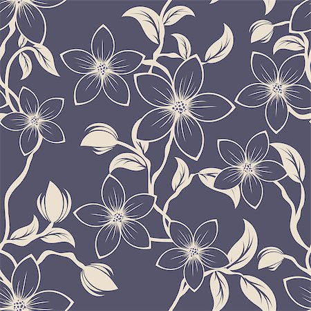 Seamless vector floral pattern. For easy making seamless pattern just drag all group into swatches bar, and use it for filling any contours. Stock Photo - Budget Royalty-Free & Subscription, Code: 400-07105047