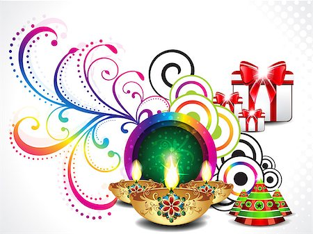 colorful diwali background vector illustration Stock Photo - Budget Royalty-Free & Subscription, Code: 400-07105095