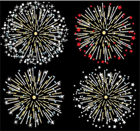 fireworks illustrations - vector firework background Stock Photo - Budget Royalty-Free & Subscription, Code: 400-07105457