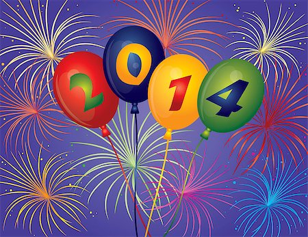 fireworks vector - Happy New Year 2014 Balloons with Fireworks Display Background Illustration Stock Photo - Budget Royalty-Free & Subscription, Code: 400-07105832