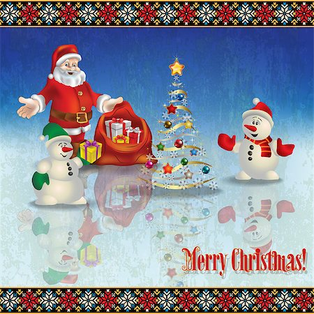 abstract celebration greeting with Santa Claus Christmas tree and snowmen Stock Photo - Budget Royalty-Free & Subscription, Code: 400-07105877