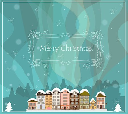 Christmas card with houses, vector Stock Photo - Budget Royalty-Free & Subscription, Code: 400-07106364