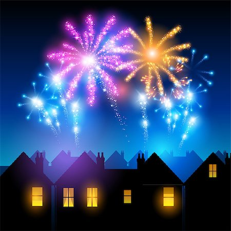 firework illustration - Fireworks lighting up the sky behind town houses. Stock Photo - Budget Royalty-Free & Subscription, Code: 400-07106727