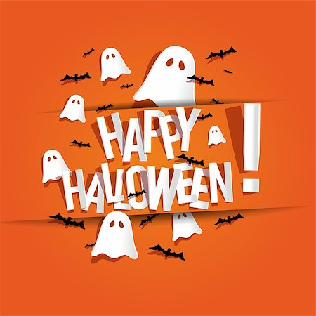 Happy Halloween card vector illustration Stock Photo - Budget Royalty-Free & Subscription, Code: 400-07107158