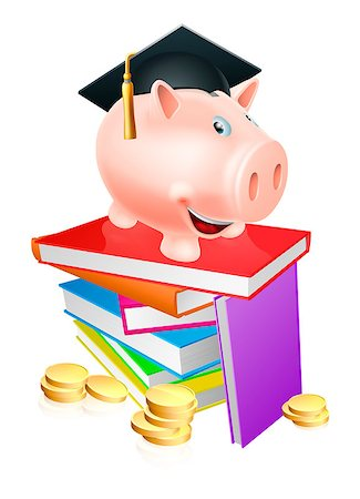 education loan - An education provision financial concept of a piggy bank in a mortar board academic cap standing on a stack of books with gold coins. Stock Photo - Budget Royalty-Free & Subscription, Code: 400-07107302