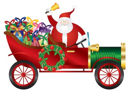 Santa Claus Ringing Bell in Vintage Car Delivering Wrapped Presents Isolated on White Background Illustration Stock Photo - Budget Royalty-Free & Subscription, Code: 400-07107455