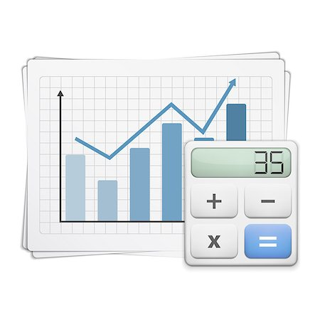 report icon - Finance graph and calculator, vector eps10 illustration Stock Photo - Budget Royalty-Free & Subscription, Code: 400-07107541