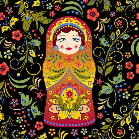 Vector illustration of seamless pattern with russian doll matryoshka and abstract flowers Stock Photo - Budget Royalty-Free & Subscription, Code: 400-07107645