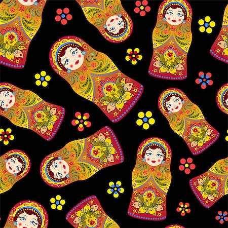 "Vector illustration of seamless pattern with russian dolls ""matryoshka"" on black background Stock Photo - Budget Royalty-Free & Subscription, Code: 400-07107647"